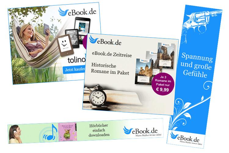 Sehen Sie die Beispiele für Affiliate Banner von eBook.de