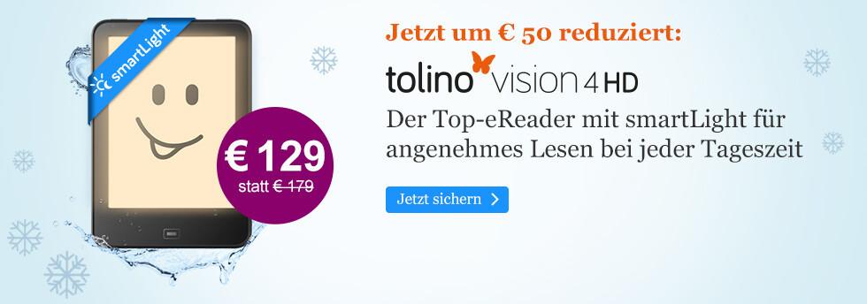 Jetzt um € 50 reduziert:eReader tolino vision 4 HD für € 129