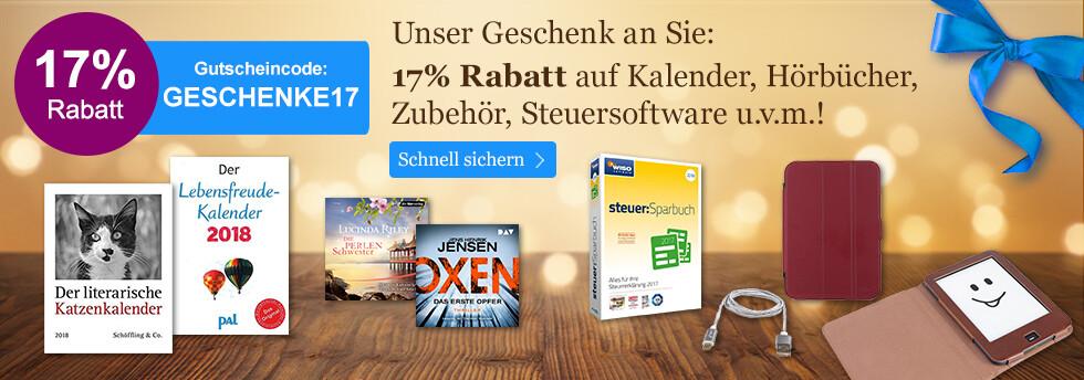 Unser Geschenk an Sie: Ein 17% auf Kalender, Hörbücher, Zubehör und Steuersoftware