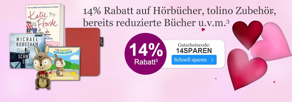 14% Rabatt auf Hörbücher, tolino Zubehör, bereits reduzierte Bücher u.v.m. bei eBook.de