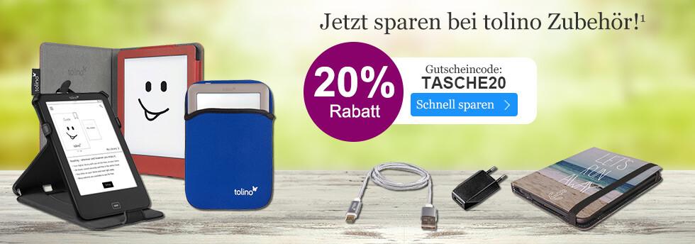 Jetzt 20% Rabatt auf tolino Zubehör sichern bei eBook.de