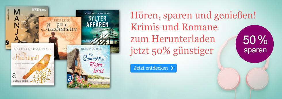 Krimis und Roman Hörbuch Downloads 50% günstiger bei eBook.de