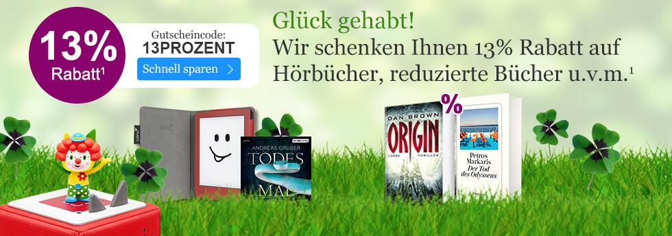 Jetzt 13% Rabatt auf alle Hörbücher, reduzierte Bücher, tolino Zubehör u.v.m. sichern bei eBook.de