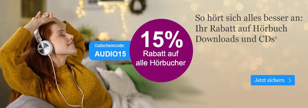 Holen Sie sich Ihren 15% Rabatt auf Hörbuch CDs und Hörbuch Downloads