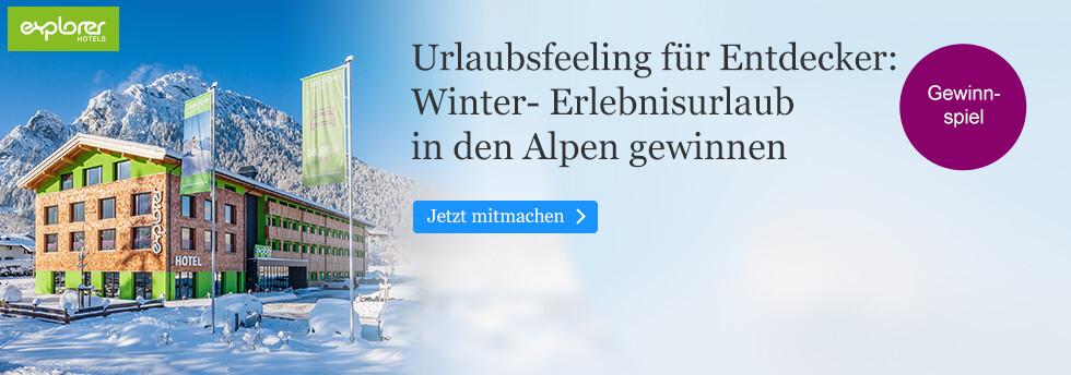 Gewinnen Sie einen Winter-Erlebnisurlaub in den Alpen bei eBook.de