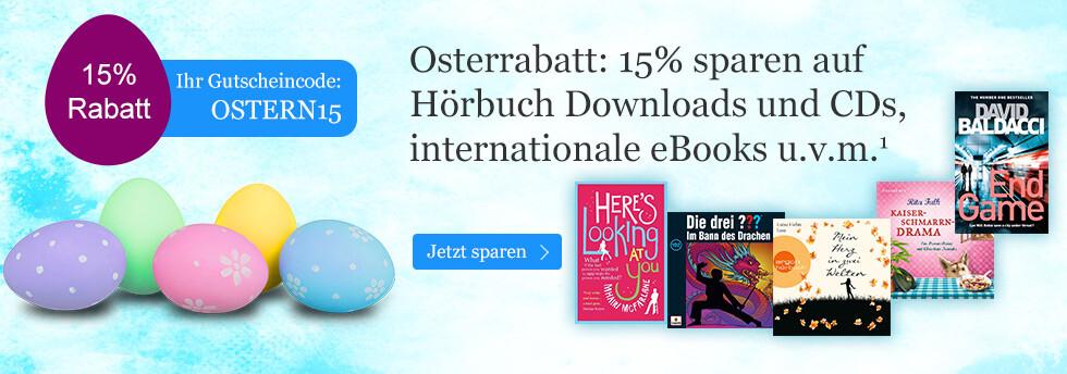 Sparen Sie 15% auf Hörbücher, internationale eBooks u.v.m.
