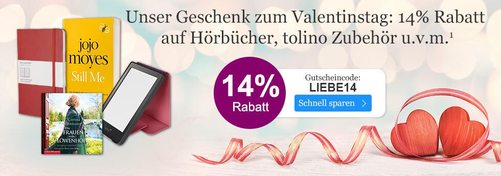 Unser Geschenk: 14% Rabatt zum Valentinstag bei eBook.de