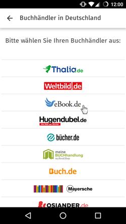 Auswahl des eBook.de Shops
