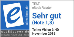 Testsiegel alleseBook für tolino vision 3 HD